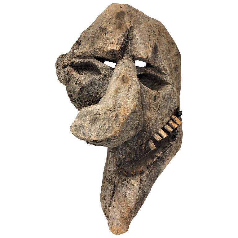Primitive Carved Tree Fern Wood Mask For Sale