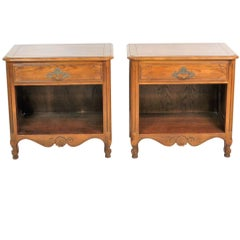 Pair of Baker Country French Walnut Nightstands