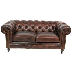 Georgian Style Brown Leather Tufted Chesterfield Sofa