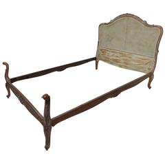 French Louis XV Style Caned Back Distressed Painted Bed