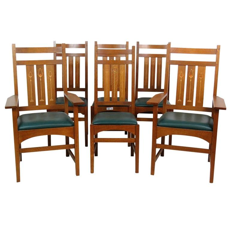 Dining Room Furniture Sale: Six Stickley Inlaid Oak Dining Chairs For Sale At 1stdibs