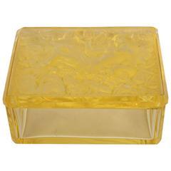 French Art Deco Citrine Glass Box with Raised Zodiac Motifs