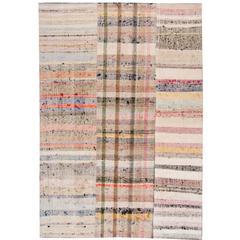 Gorgeously Contrasted Vintage Kilim Rug