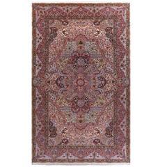 Oversized Hunting Scene Vintage Tabriz Persian Rug