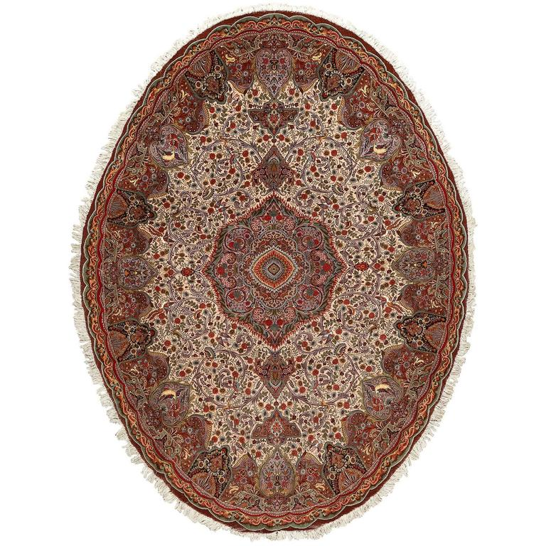 Oval Animal Motif Vintage Tabriz Persian Rug 1