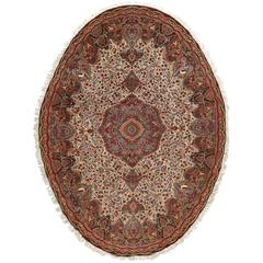 Oval Animal Motif Vintage Tabriz Persian Rug