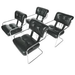 Set of Four Tucroma Black Leather and Chrome Dining Chairs