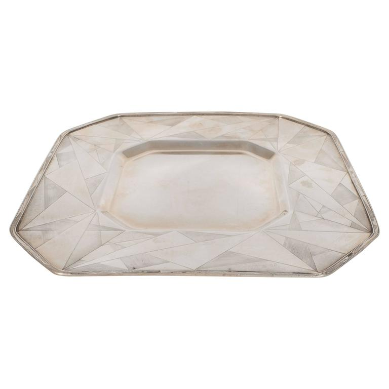 Art Deco Skyscraper Style Silver Plated Tray with Chased Geometric Designs 1