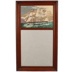 Trumeau Wall Mirror with Tall Ship Painting by Margo Alexander