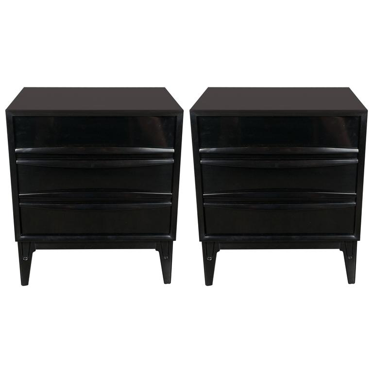 Ebonized Walnut Mid-Century Modern Sculptural End Tables or Nightstands