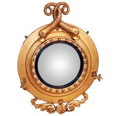 Antique Regency Giltwood Porthole Convex Mirror