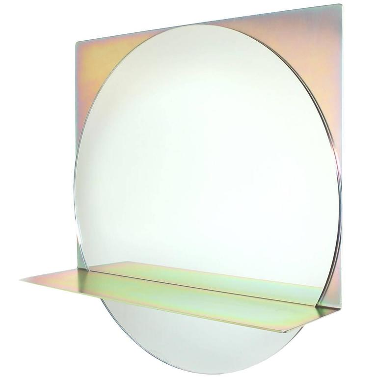 Starting Point Mirror in Iridescent Steel and Clear Glass