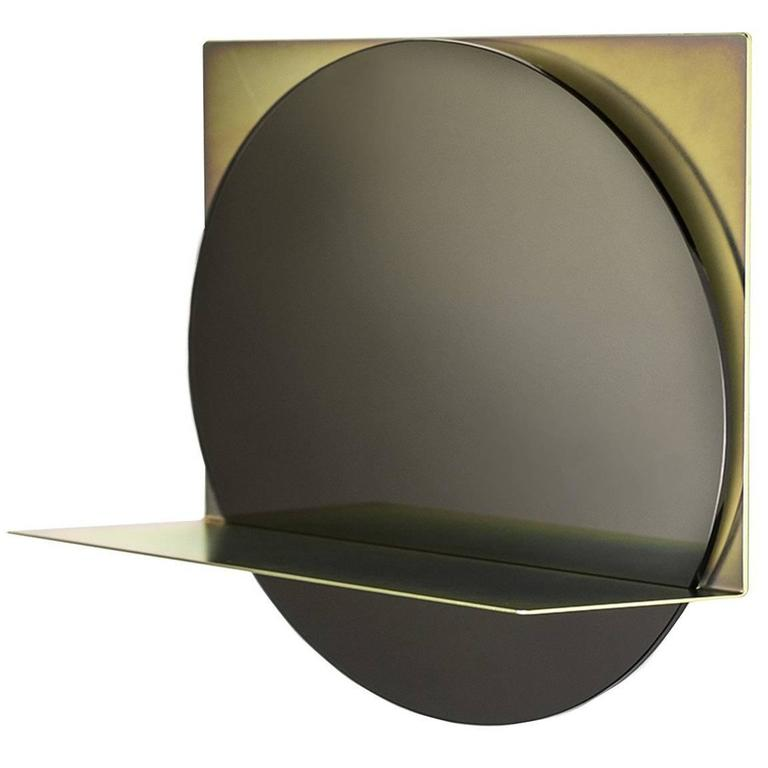 Starting Point Mirror in Iridescent Steel and Smoked Glass