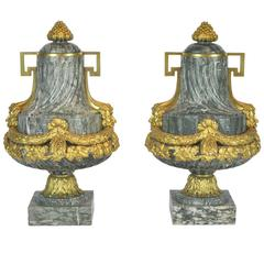 Pair of 19th Ct. Louis XV Carved Marble and Bronze Castlettes or Urns