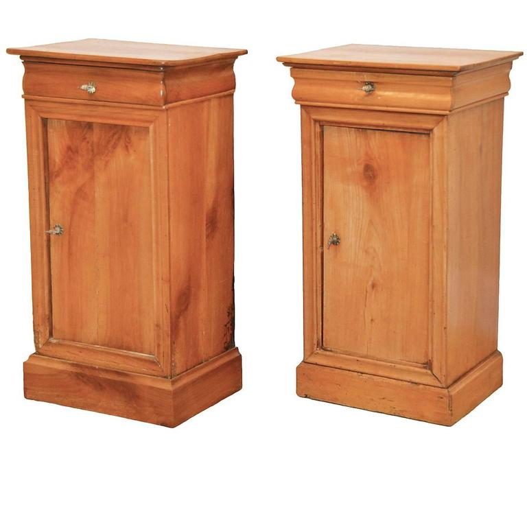 Pair of 19th Ct. French Directoire Fruitwood End Tables with 1 Door & 1 Drawer 1