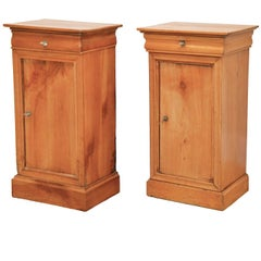 Pair of 19th Ct. French Directoire Fruitwood End Tables with 1 Door & 1 Drawer