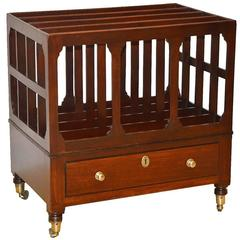 19th Ct. English Sheraton Mahogany Canterbury with Bronze Casters and 1 Drawer