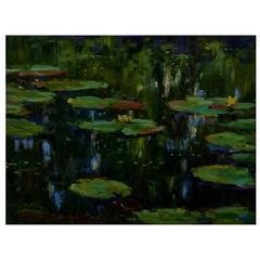 """Jeppe Drews Danish Artist, Water Lilies, """"Oil on Board"""""""