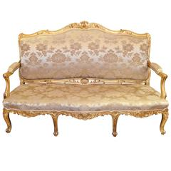 19th Century French Louis XV Style Upholstered Giltwood Sofa