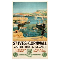 Original GWR Great Western Railway Poster - St Ives Cornwall Carbis Bay & Lelant