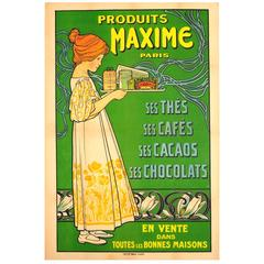 Original Antique Food and Drink Advertising Poster for Produits Maxime Paris