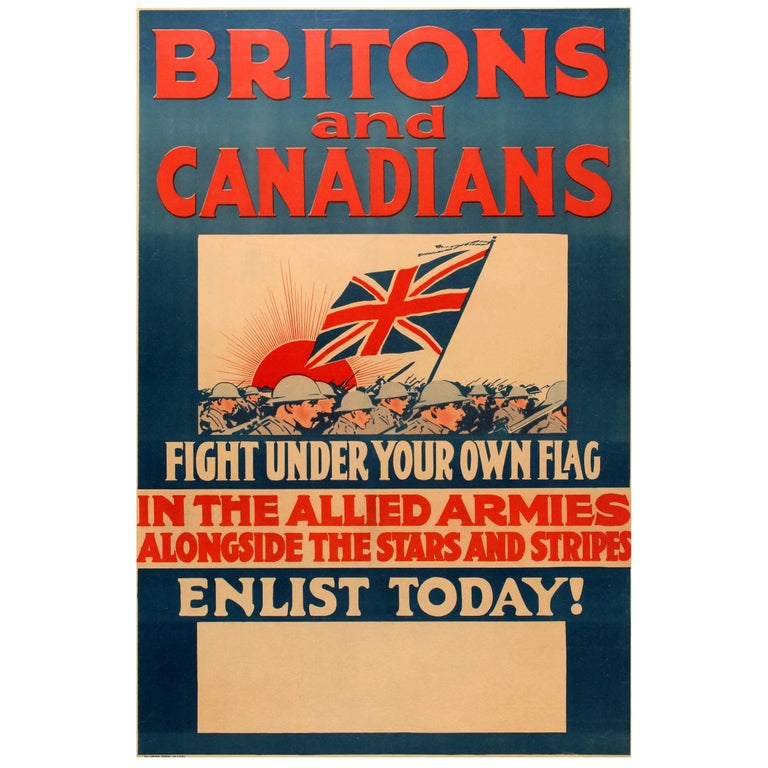 Original World War One Poster - Britons And Canadians Fight In The Allied Armies For Sale