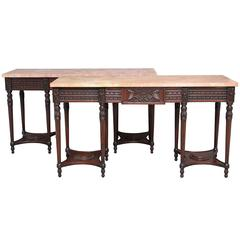 Pair of Early 20th Century Carved Mahogany Marble-Top Console Tables