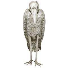 Edwardian English Sterling Silver Heron Sugar Box
