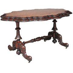 19th Century Irish Carved Burr Walnut Centre Table