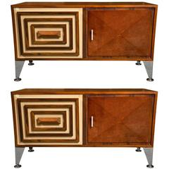 Pair of Mahogany Decorator Mid-Century Modern Credenzas Commodes Nicely Polished