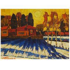 'March Sunlight' Original Oil Painting by Russian Kim Britov