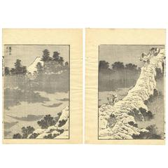 Hokusai Ukiyo-E Japanese Woodblock Print Mt. Fuji 100 Views, Landscape