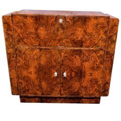 Art Deco English Walnut Cocktail Cabinet