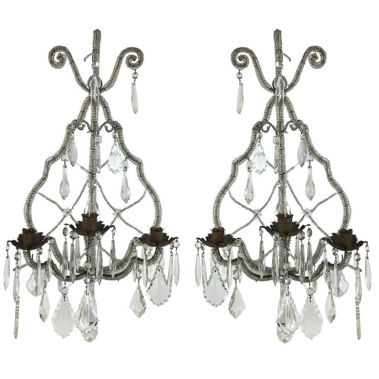 Pair of Italian Beaded Crystal Three-Light Sconces Dating Back to 19th Century