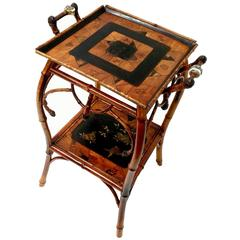 Perret & Vibert, Bamboo and Marquetry Table, End of 19th Century