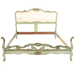 Antique Italian Painted Bed in Queen Size, circa 1900