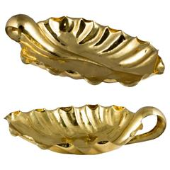 Pair of Mid-Century Italian Tomasso Barbi Gold Leaf Bowls