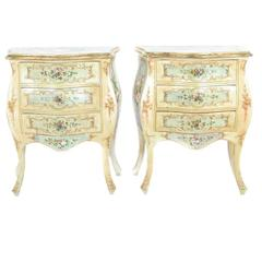 Italian Painted Commodes or Nightstands, circa 1900, Rare