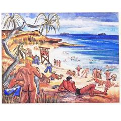 """Nude Sailors on Fiji, August 1945,"" Vivid Painting of World War II Beach Scene"