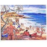"""""""Nude Sailors on Fiji, August 1945,"""" Vivid Painting of World War II Beach Scene"""