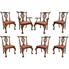 Set of Eight Waring And Gillow George III Style Mahogany Dining Chairs