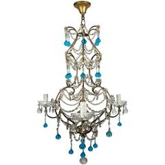 Italian Beaded Macaroni Cage Chandelier with Blue Murano Drops and Giltwood