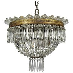 Italian Empire Style Crystal Chandelier with Murano Leaves