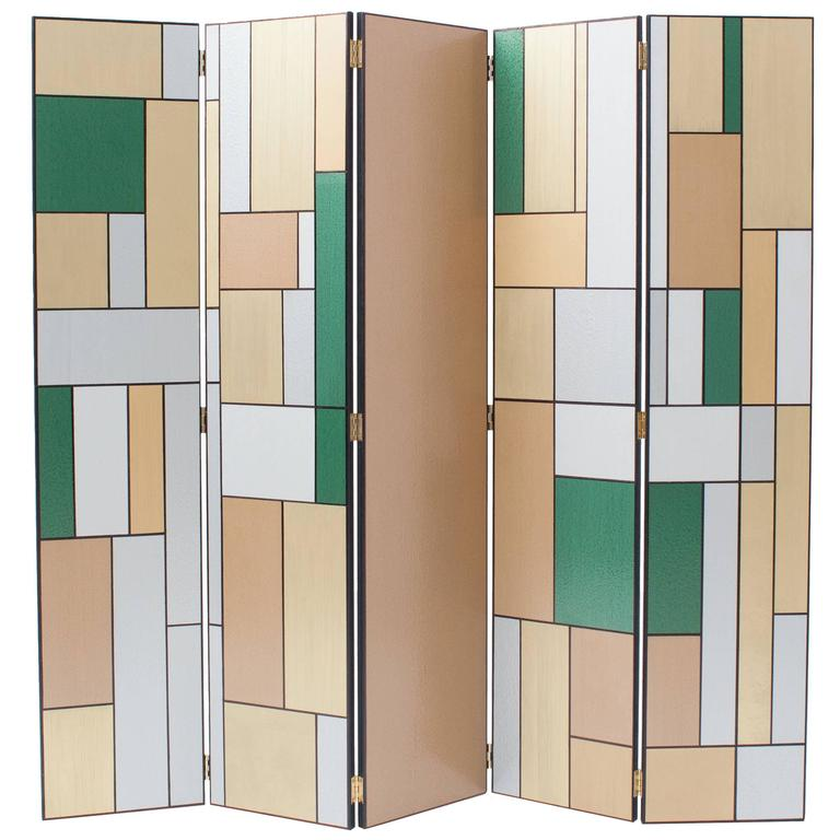 Hand Painted Five Door Art Deco Room Divider at 1stdibs