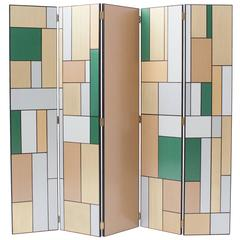 Hand-Painted Five-Door Art Deco Room Divider