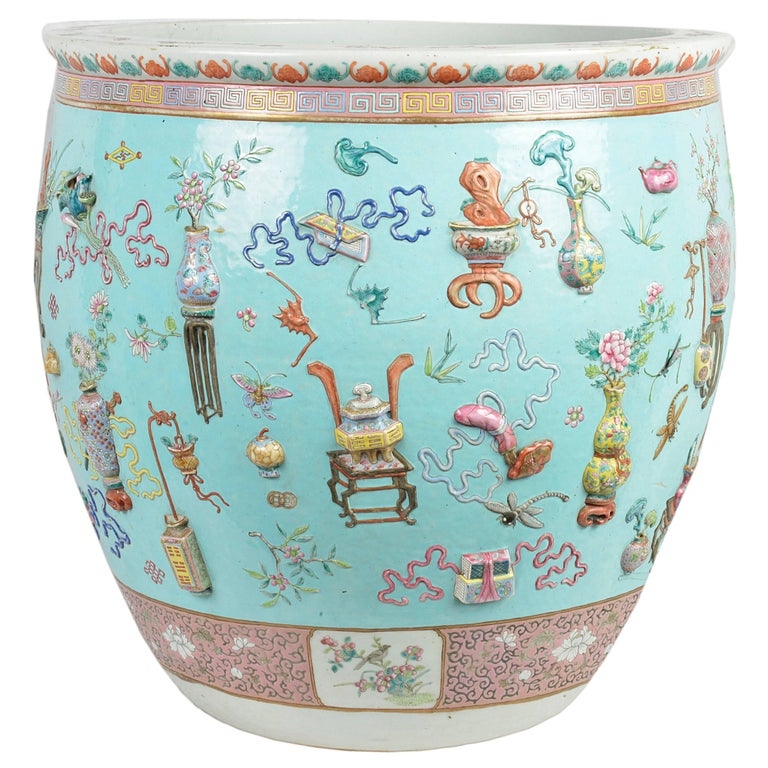 Chinese 19th Century Famille Rose Fish Bowl For Sale