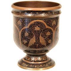 Antique Indian Mughal Kashmir Copper Inlaid Engraved Bidri Cup Vase