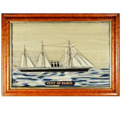 "Sailor's Woolwork Woolie of the Named Ship ""City of Paris"", Signed by the Maker"