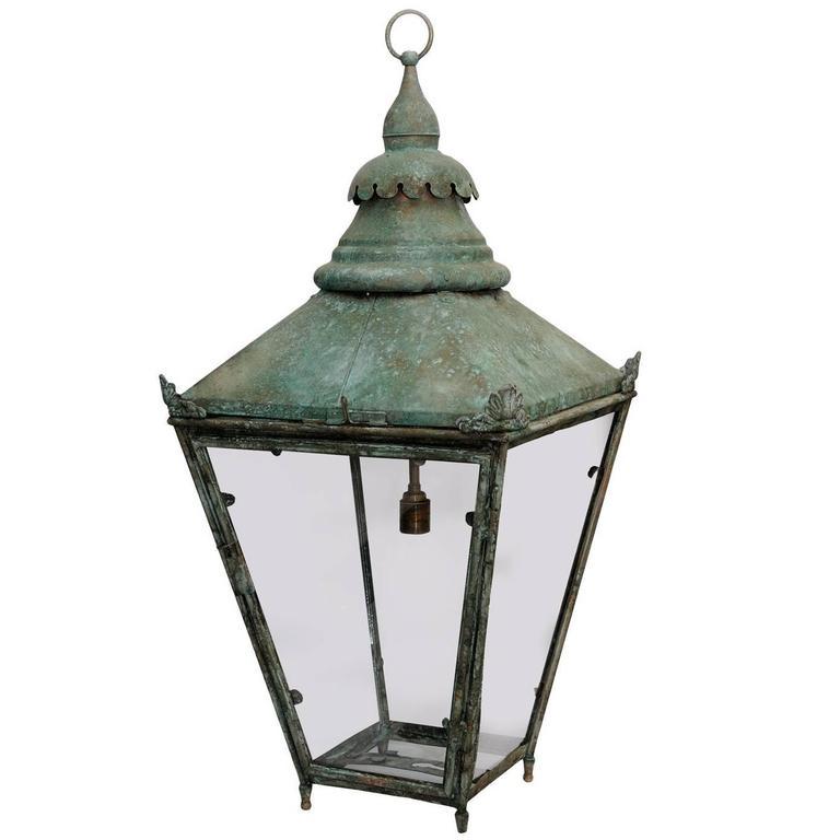 Large English 19th Century Verdigris Copper Hanging Lantern, circa 1860