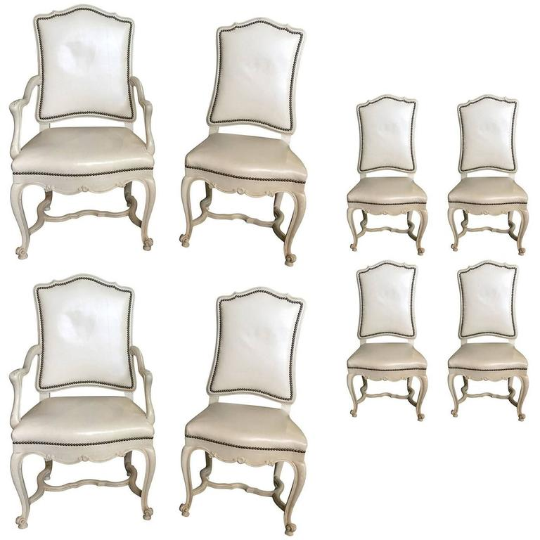 Set of Eight White Leather Dining Chairs, in the Style of Don Rousseau